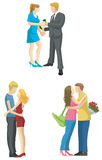 Loving couple sketch in modern fashionable style s Royalty Free Stock Images