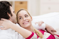 Loving couple smiling into each others eyes Royalty Free Stock Photo