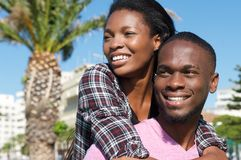 Loving couple smiling together outdoors Stock Photos