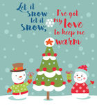 Loving couple of snowmen Stock Images