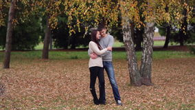 Loving couple standing embracing near a tree. In the park. Valentine's Day stock video footage