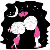 A loving couple standing head to head at night. A loving couple standing head to head at night Royalty Free Stock Images