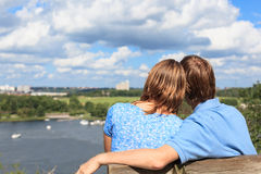 Loving couple in stockholm Stock Photography