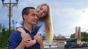 Loving couple on the street happy slow motion stock video