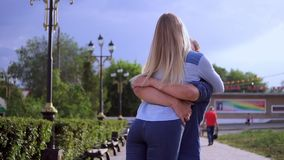 Loving couple on the street happy slow motion stock video footage