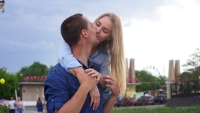 Loving couple on the street happy slow motion stock footage
