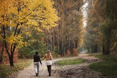 A loving couple strolling stock photography