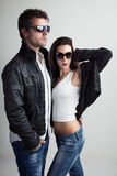 Loving couple with sunglasses Stock Images