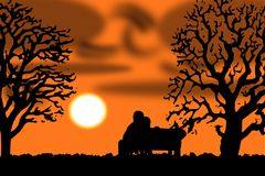 Loving Couple in a Sunset on a Bench. This is a vector illustration. On the left and the right hand side are two huge trees. On a bench is sitting a couple close Royalty Free Stock Photos