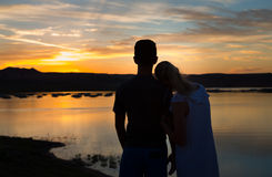 Loving Couple at Sunset Royalty Free Stock Photos