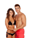 Loving couple in swimwear Stock Photos