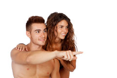 Loving couple in swimwear Stock Images