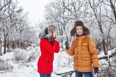 Loving couple of teenagers. Winter Stock Photos