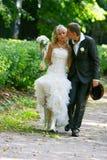 Loving couple on their wedding day Stock Photos