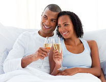 Loving couple toasting with Champagne Stock Photo