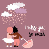 Loving couple with umbrella with clouds with raining hearts above them. Vector illustration on pink background. I miss you so much. Hand drawn loving couple with royalty free illustration