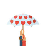 Loving couple under an umbrella. Hands of man and woman holding an umbrella with red hearts. Vector illustration flat design. Isolated on white background Royalty Free Stock Photo
