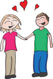 Loving couple. Vector cartoon of a couple holding hands in love Royalty Free Stock Photos