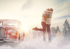 Loving couple and vintage car Royalty Free Stock Photography