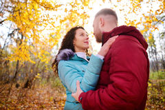Loving couple walking in the autumn forest and hugging Stock Photography
