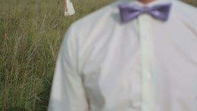 Loving couple walking in a field.  stock footage