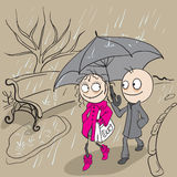 Loving couple walking park in rain. Autumn weather rain Royalty Free Stock Photography