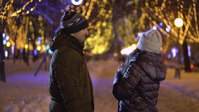 Loving couple walking in winter stock video footage