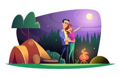 Loving couple watches the full moon and spends time outdoors. Guy and girl at the campsite. vector illustration