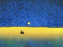 A loving couple watching the moon. Standing on the field of flowering rape with tall grass. On the horizon, a forest is visible. Oil and watercolor painting on Royalty Free Stock Images