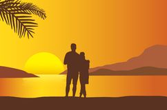 Loving couple watching sunset at the beach with sunshine reflect royalty free illustration