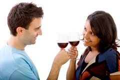 Loving couple with wineglasses Royalty Free Stock Images