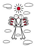 A loving couple with wings in flight among the clouds. Man and woman, boy and girl. A metaphorical cartoon figure. Love and kiss. Vector graphics Stock Photo