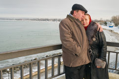 Loving couple in the winter. Royalty Free Stock Images