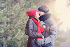 Loving couple in winter forest Stock Photography