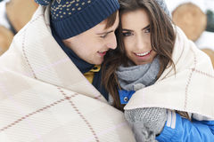 Loving couple in winter Stock Image