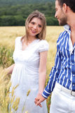 Loving couple, woman on focus Royalty Free Stock Images