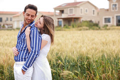 Loving Couple, Woman Hugging Her Boyfriend Royalty Free Stock Images