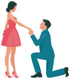 Loving couple woman and man kneeling in profile. Flat vector illustration Royalty Free Stock Photography