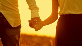 Loving couple - young man and beautiful girl walking at sunset meadow - silhouette, slow-motion. Loving couple - young man and beautiful girl walking at sunset stock video footage