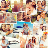 Loving couples. Collage of diverse multi-ethnic loving couples expressing positivity royalty free stock photography