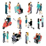 Loving Couples Isometric Set Royalty Free Stock Photo