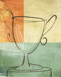 Loving Cup Trophy Prize Illustration. Artistic gestural brushwork illustration of a loving cup against a color block textured background. Winning, competition Stock Photography
