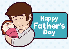 Loving Dad with his Baby Girl in Father's Day Label, Vector Illustration. Affective young dad hugging his baby girl and celebrating Father's Day vector illustration