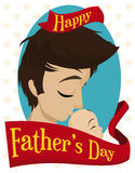 Loving Dad Kissing his Newborn Baby with Father's Day Greeting, Vector Illustration Stock Photo