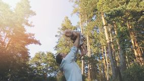 Loving dad playing with his daughter at home backyard stock footage