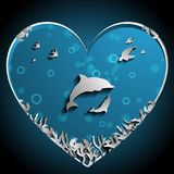 Loving of Dolphins under the sea papercut vector, art work. Nature and Ocean concept. Dolphin theme.  Royalty Free Stock Image