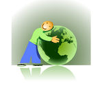 Loving Earth. Vector illustration of planet earth and a cartoon man  - environmental concepts - Green Earth. Africa, Europe and part of America are visible Royalty Free Stock Images