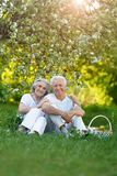 Portrait of loving elderly couple having a picnic royalty free stock photo