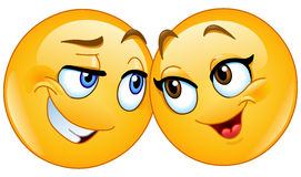 Loving emoticons. Vector illustration of a loving emoticons couple Stock Images