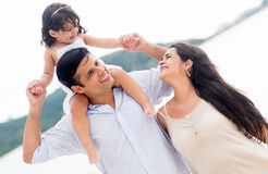 Loving family at the beach Royalty Free Stock Photography